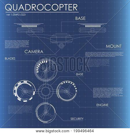 quadrocopter. Futuristic user interface. Virtual graphic. HUD quadrocopter