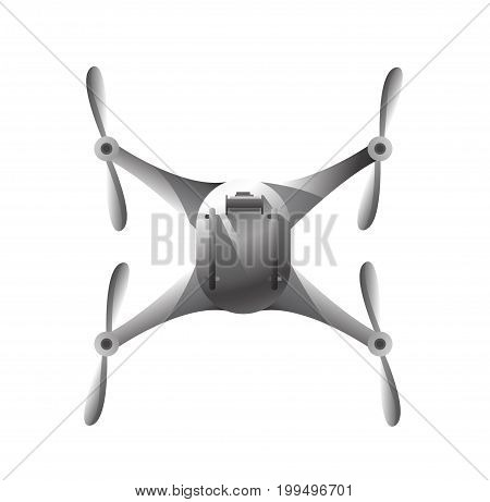 quadrocopter top view isolated object on a white background