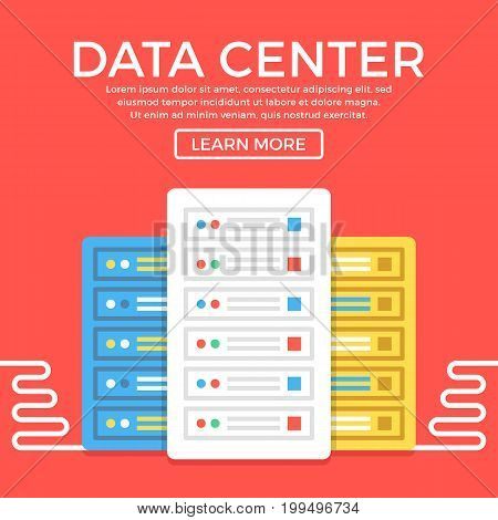 Data center. Server, hosting, data storage concepts. Modern flat design graphic elements for web banners, web sites, etc. Vector illustration