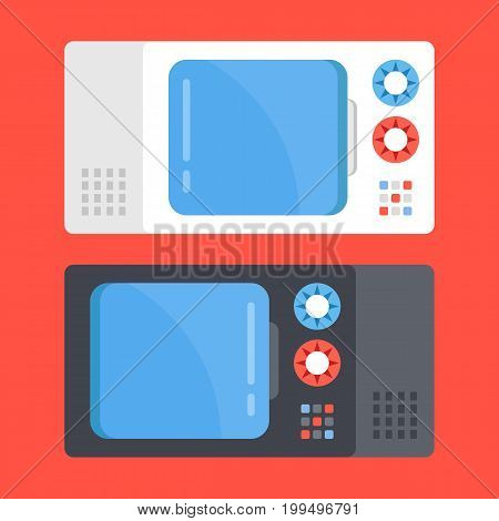 Vector microwave ovens set. Black and white microwave isolated on red background. Modern flat design vector illustration
