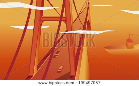 Flat vector web banner on the theme of travel by car, vacation, bridge landscape, railway, adventure. Sunset sky. Vector illustration