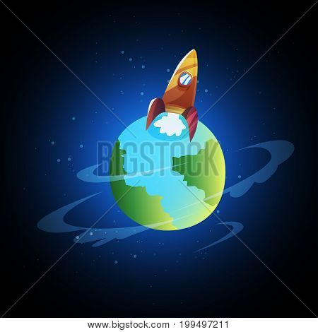 Start Up. Rocket ship. Flat design modern vector illustration concept of new business project start up development and launch
