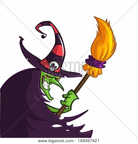 Cartoon old ugly funny witch in hat with a broom. Halloween vector illustration