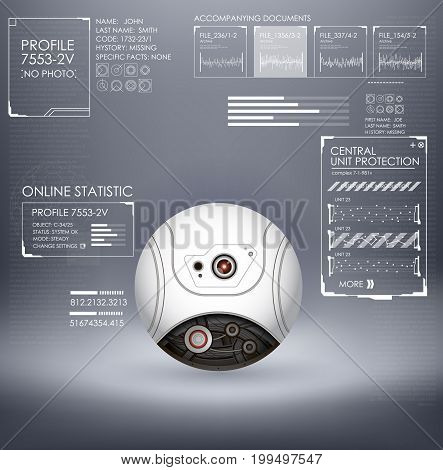Sci fi futuristic web cam with interface HUD. Vector illustration. Global surveillance and video surveillance