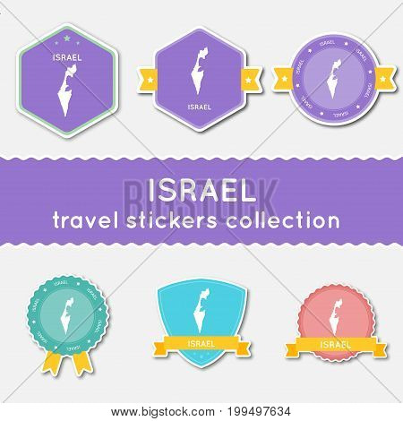 Israel Travel Stickers Collection. Big Set Of Stickers With Us State Map And Name. Flat Material Sty