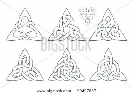 Vector celtic trinity knot part 2. Ethnic ornament. Geometric design. Vector illustration set