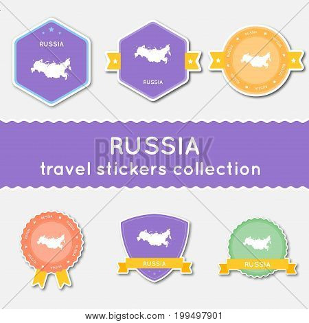 Russian Federation Travel Stickers Collection. Big Set Of Stickers With Country Map And Name. Flat M