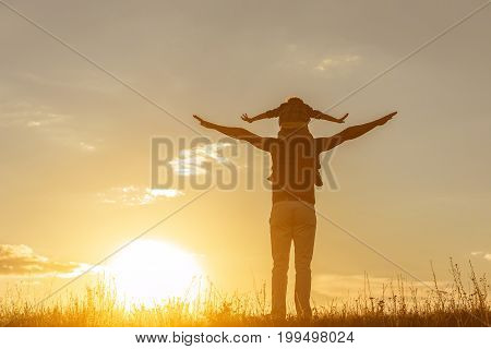 We are free. Cheerful father is holding his son on shoulders and stretching arms sideways. Focus on their back. The sun sets behind the meadow