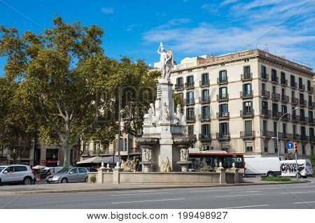 BARCELONA SPAIN - OCTOBER 22 2015: Urban view of Barcelona the capital city of the autonomous community of Catalonia in the Kingdom of Spain