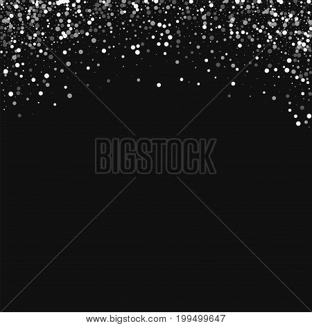 Random Falling White Dots. Abstract Top Border With Random Falling White Dots On Black Background. V