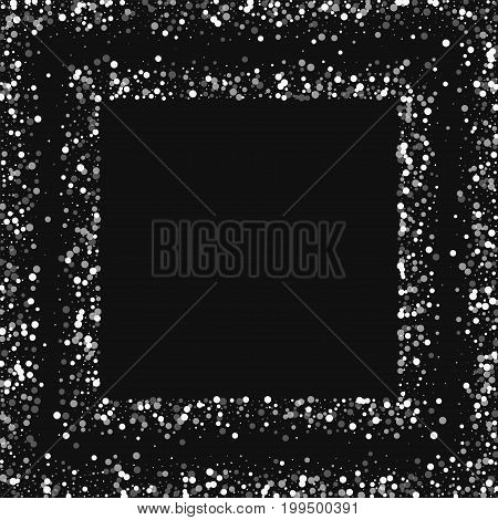 Random Falling White Dots. Square Scattered Frame With Random Falling White Dots On Black Background