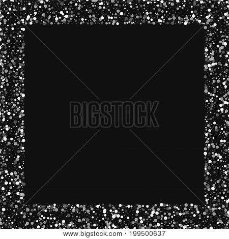 Random Falling White Dots. Square Scattered Border With Random Falling White Dots On Black Backgroun