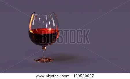 Red wine in glass background. 3D Illustration.