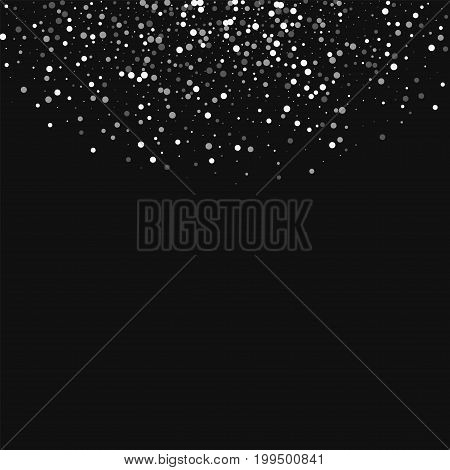 Random Falling White Dots. Top Semicircle With Random Falling White Dots On Black Background. Vector