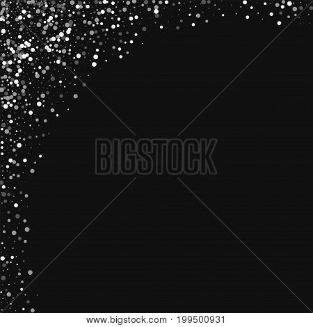 Random Falling White Dots. Abstract Left Top Corner With Random Falling White Dots On Black Backgrou