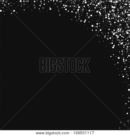 Random Falling White Dots. Abstract Right Top Corner With Random Falling White Dots On Black Backgro
