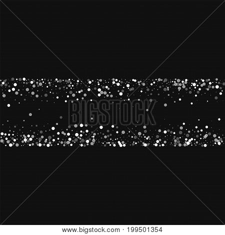 Random Falling White Dots. Chaotic Shape With Random Falling White Dots On Black Background. Vector