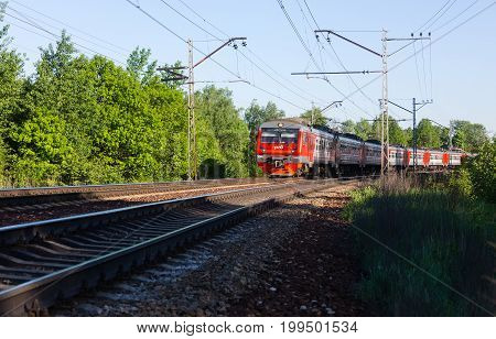 Moscow Russia - May 25 2015: Moscow electric train on the turn of railway on a clear sunny day.