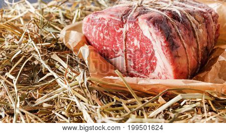 Raw black angus beef bound with rope in craft paper on straw. Aged prime marble meat closeup