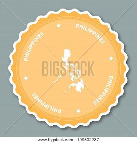 Philippines Sticker Flat Design. Round Flat Style Badges Of Trendy Colors With Country Map And Name.