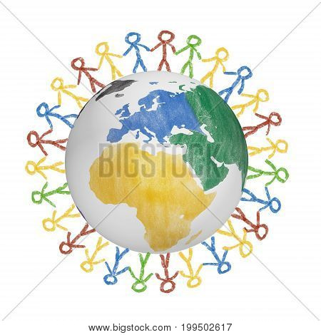 3D Globe with the view on america with drawn people holding hands. Concept for friendship, globalization, communication and diversity
