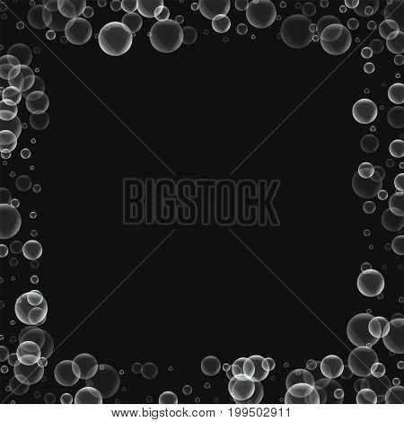 Random Soap Bubbles. Square Scattered Border With Random Soap Bubbles On Black Background. Vector Il