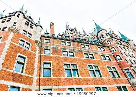 Quebec City Canada - May 29 2017: Fountain Monument de la Foi by Hotel Chateau Frontenac closeup