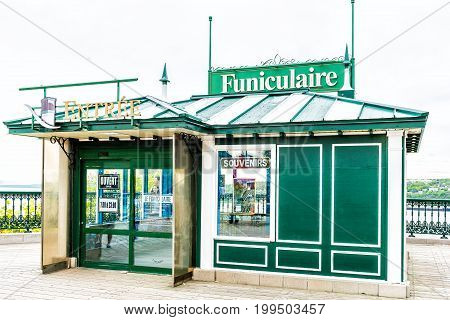 Quebec City Canada - May 29 2017: Old town view of Funiculaire Frontenac building entrance