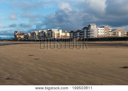 Ayr beach, sand  and seafront, Ayrshire, Scotland.