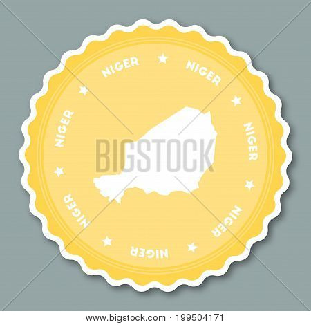 Niger Sticker Flat Design. Round Flat Style Badges Of Trendy Colors With Country Map And Name. Count