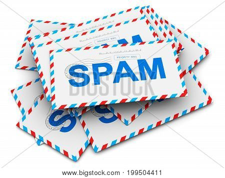 3D render illustration of the heap or stack of paper mail envelopes with spam text isolated on white background