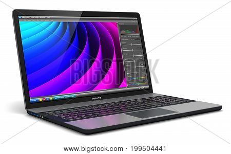 3D render illustration of modern aluminum business laptop or metal silver office notebook with color screen interface of photo editor software application or app isolated on white background