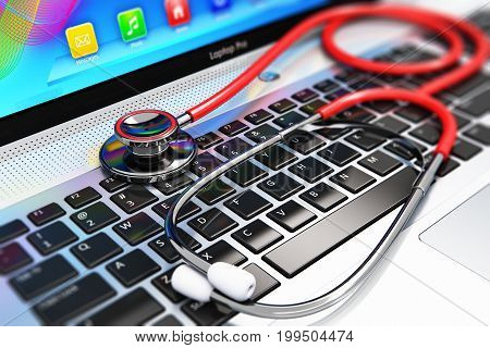 3D render illustration of the macro view of red stethoscope on business office laptop notebook keyboard with selective focus effect