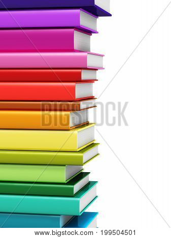 3D render illustration of rainbow color hardcover books isolated on white background