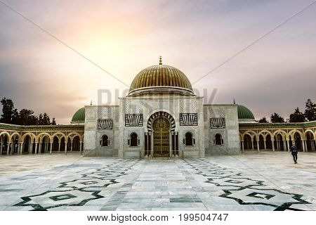 Monastir .Tunisia.May 23 2017.The mausoleum of Habib Bourguiba in Monastir at sunset