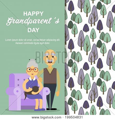 Happy Grandparents day. Card for your greetings. Stock vector. Dear grandma and grandpa.