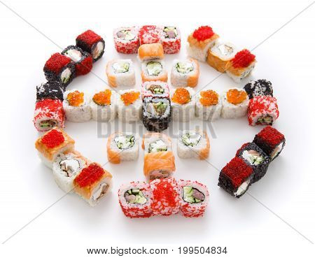 Sushi assortment isolated on white background. Big set of philadelphia and fish rolls in colorful tobiko caviar. Japanese food delivery
