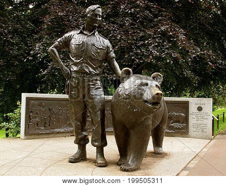 Soldier and bear Wojtek. Edinburgh, Scotland - July 27, 2017 Monument to Polish soldier and bear Wojtek in Edinburgh.