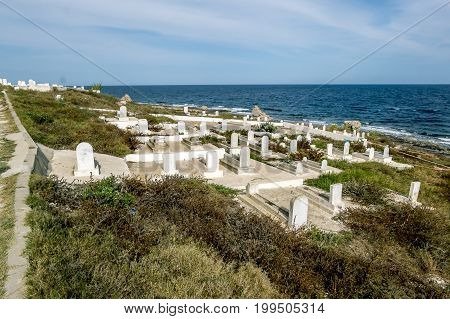Mahdia.Tunisia.May 23 2017.Punic cemetery on the Mediterranean coast to Mahdia .