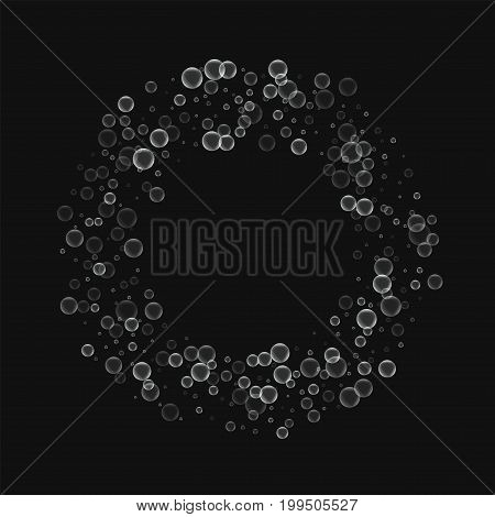 Soap Bubbles. Bagel Frame With Soap Bubbles On Black Background. Vector Illustration.