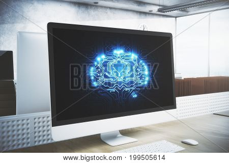 Modern workplace with digital circuit brain on computer screen supplies and other items. Artificial intelligence concept. 3D Rendering
