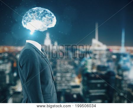 Side view of businessman with polygonal brain on blurry night city background. Technology concept