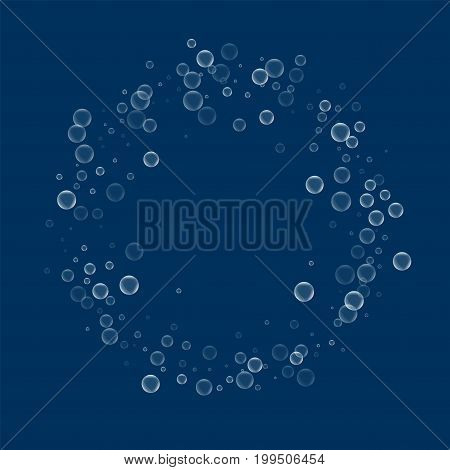 Soap Bubbles. Ring Frame With Soap Bubbles On Deep Blue Background. Vector Illustration.