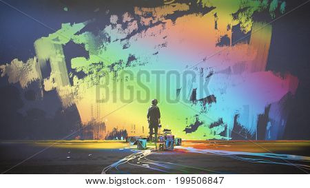 man paints colorful brush stroke in the air with magic brush, digital art style, illustration painting