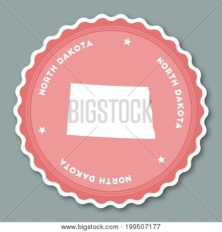 North Dakota Sticker Flat Design. Round Flat Style Badges Of Trendy Colors With The State Map And Na