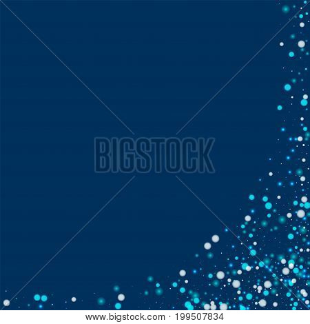 Beautiful Falling Snow. Abstract Right Bottom Corner With Beautiful Falling Snow On Deep Blue Backgr