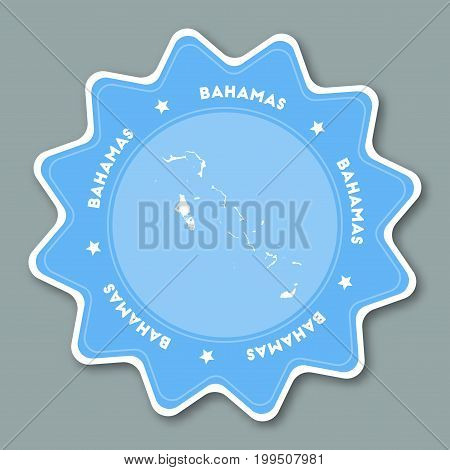 Bahamas Map Sticker In Trendy Colors. Star Shaped Travel Sticker With Country Name And Map. Can Be U