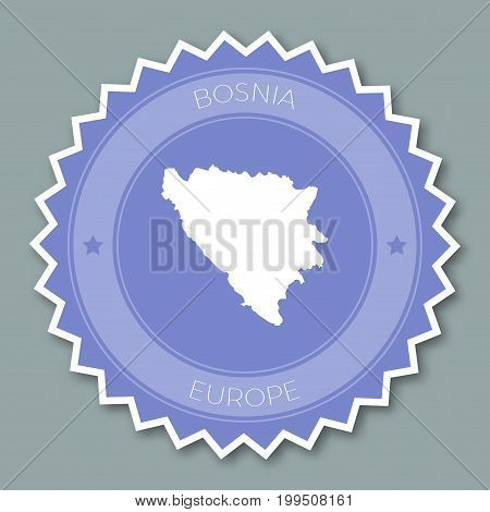 Bosnia And Herzegovina Badge Flat Design. Round Flat Style Sticker Of Trendy Colors With Country Map