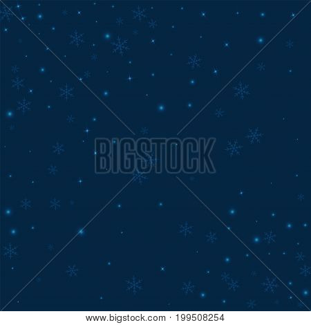 Sparse Glowing Snow. Scatter Pattern On Deep Blue Background. Vector Illustration.