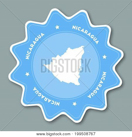 Republic Of Nicaragua Map Sticker In Trendy Colors. Star Shaped Travel Sticker With Country Name And